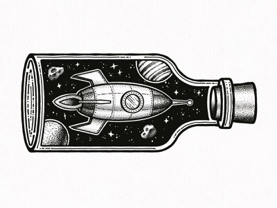 Spaceship in a Bottle universe stars star planets planet spaceships bottle spaceship space