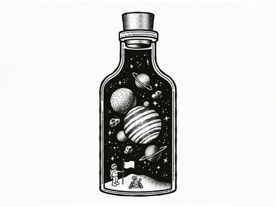 Universe in a Bottle stars planetarium astronaut spaceship spaceman asteroids asteroid moon planet planets space universe
