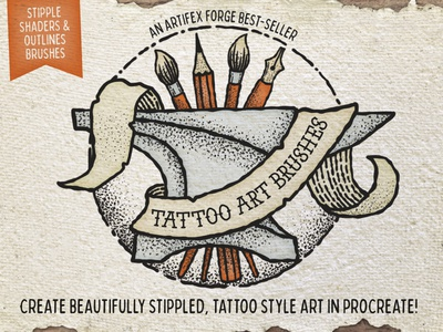 Tattoo Art Brushes - Procreate shaders sailor jerry vintage etched etch texture procreate brushes brush stippled stipple liner outlines outline inked ink tattooed tattoos tattoo