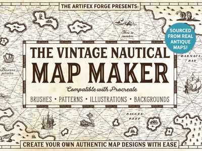 Vintage Nautical Map Maker - Procreate monsters monster charts nautical chart mapping islands ships ship island sea ocean nautical pirates pirate procreate maps vintage map