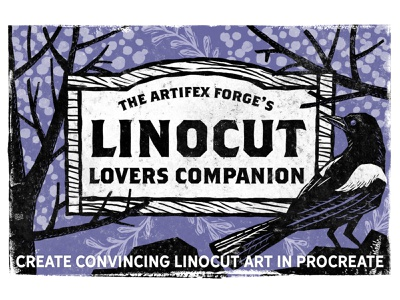 Linocut Lovers Companion first image vintage liner outline seamless patterns pattern wood woodcut procreate brushes brush cut linocut style linocut