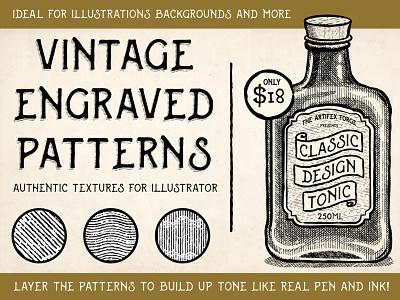 Vintage Engraved Patterns top hat hat bottle classic illustrator vector brushes photoshop brushes textures texture patterns pattern engravers engraver engraved vintage