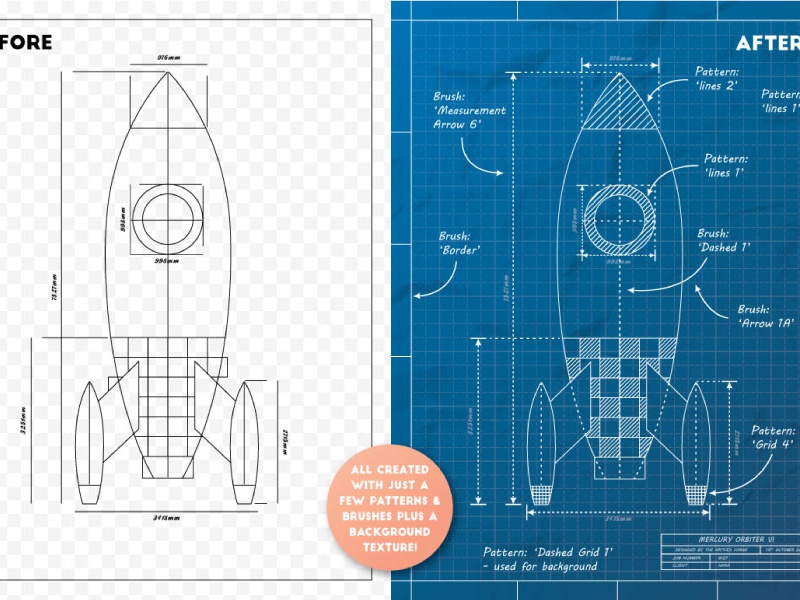 Blueprint Rocket By Jeremy On Dribbble