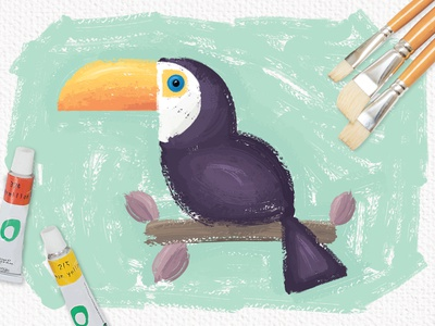 Oil Paint Toucan vector illustrator brush brushes painting oil paint toucan bird