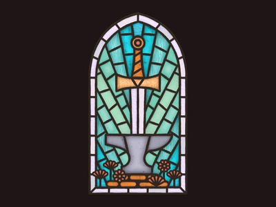 The Sword and Anvil church windows window flower glass flowers stained glass stained lead lights light anvil stone sword