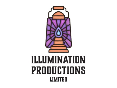 Illumination Productions Logo logos lights light box lead stained window glass illuminate light lamp logo