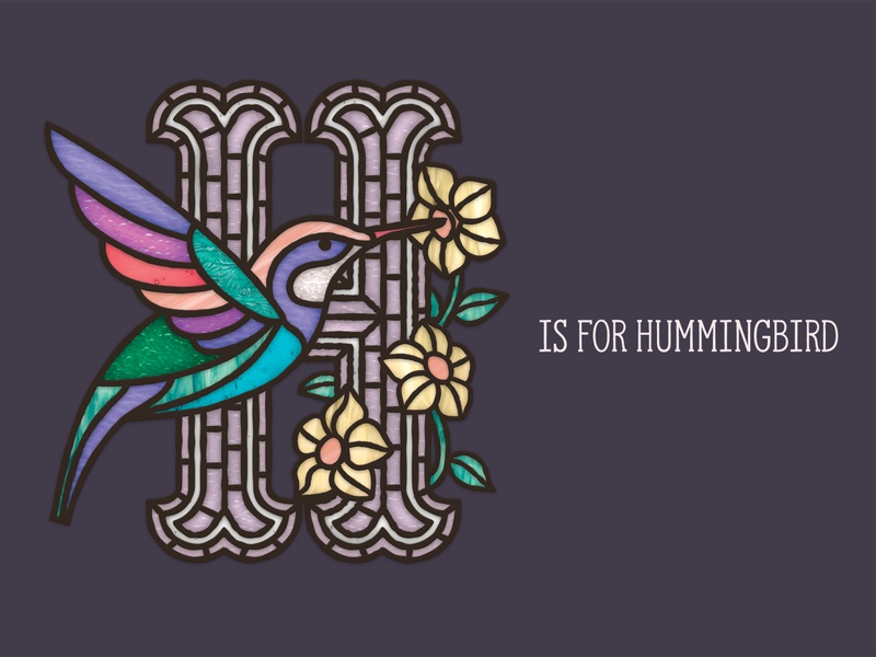 'H' is for Hummingbird lead lights light glass stained glass stained flowers flower letters lettering letter hummingbirds humming bird humming hummingbird
