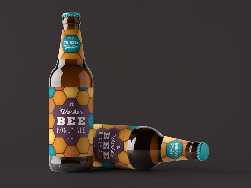 The Worker Bee - packaging Design window lights light lead stained glass stained ale bee logo bottle design hex hexagon bees beer art beer bottle beer