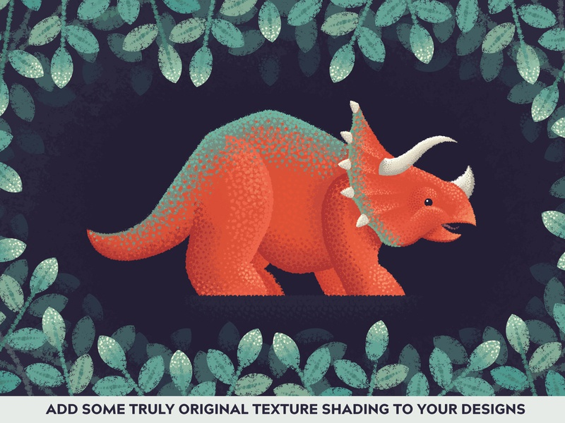 Modern Impressionist Triceratops triceratops vector illustrator brushes brush camouflage scales texture forest leaves dinsosaurs dinosaur dino