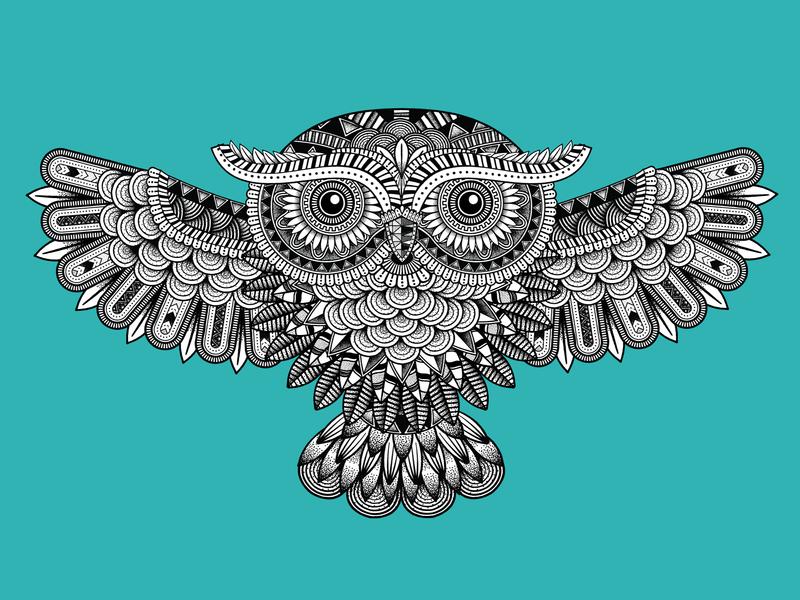 Zentangle Owl owl logo bird logo patterns pattern mandalas mandala birds bird zentangle owls owl