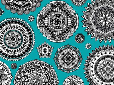 Zentangle Mandalas stippled illustrator brushes brush patterns pattern mandalas mandala zentangle