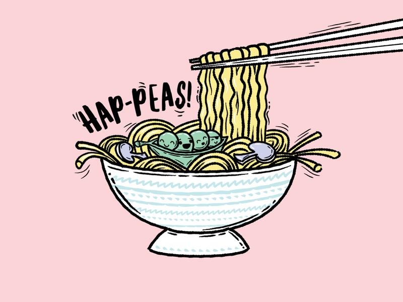 Hap-peas! brushes brush vector inktober ink asian asian food takeaway takeout mushrooms noodle peasant mushroom peas noodles