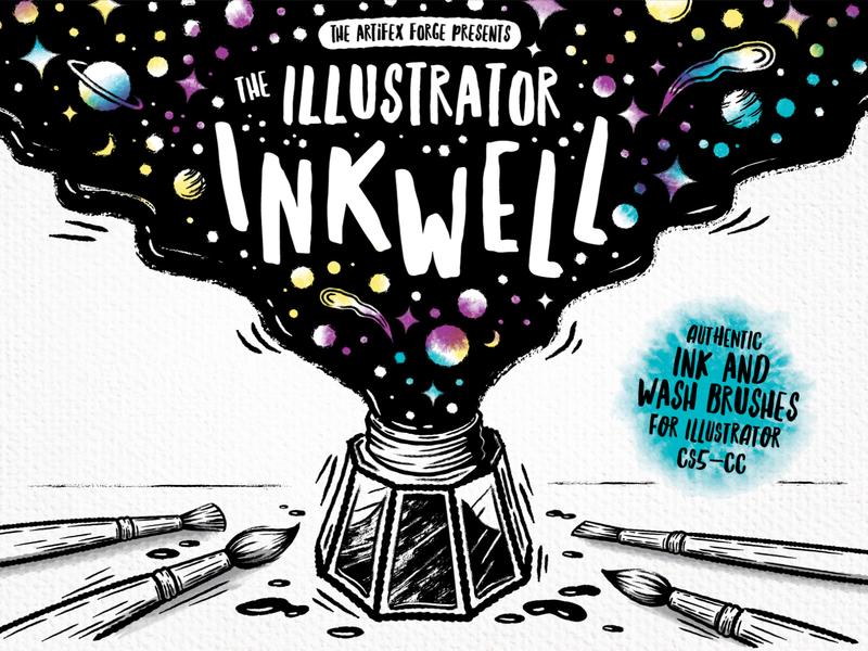 The Illustrator Inkwell inktober vector illustrator shooting stars star planets space brushes brush bottle ink