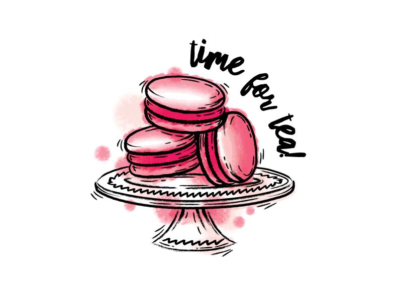 Macaroons! vector illustrator brushes brush inktober ink tea plate baking bake cakes cake macaroons macaroon