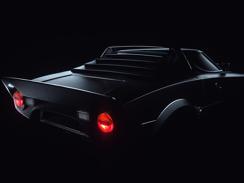Back in Black - Lancia Stratos creative direction artdirection octane cinema4d 3dart behance project cars dark lighting art c4d render cgi automitive design 3d car