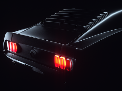 Back in Black - Ford Mustang render octane lighting design dark creative direction cinema4d cgi cars car c4d project behance automitive artdirection art 3dart 3d