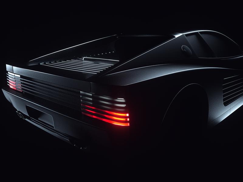 Back in Black - Ferrari Testarossa render octane lighting design dark direction creative cinema4d cgi cars car c4d project behance automitive artdirection art 3dart 3d