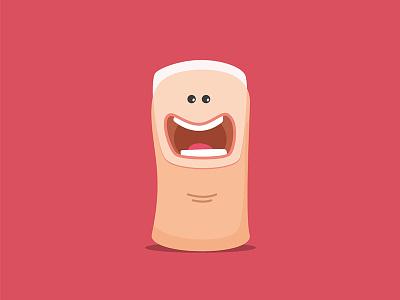 Hi, i'm Thumby ! thumb up cute character design character application game logo illustration nail finger thumb