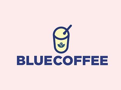 Blue Coffee 01 flat logo design logo identity graphic design brand identity design