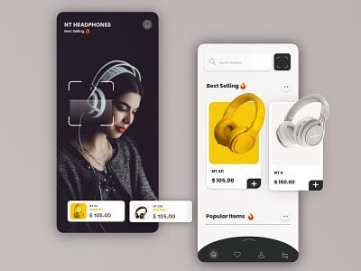 Headphone Mobile app  Ui UX Design headphone mobile headphones headphone ui mobile app design illustration digital ux ui webdesign logo design illustration design mockups illustrations
