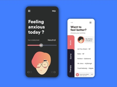 Mobile App Ui UX For anxiety and stress help !