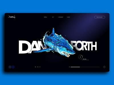 Danforth Art Selling E-Commerce Store UI UX nightheme darktheme ocean art fish animal portfolio uxdesing uiuxdesign uiux designer userinterface adobexd uiux shopify shopifystore appdesign dailyui gfxmob userexperience