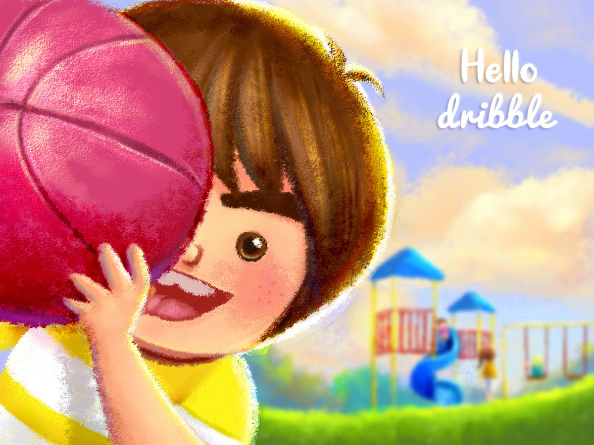 Hello dribble ! dribble colorful cute boy childrenstorybook childrenbook childrenart ball kids characterdesign illustration