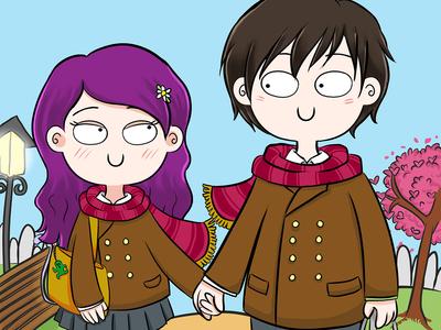 Cartoon couple lovey dovey