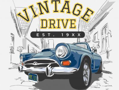 vintage slogan with vintage car city illustration 41984 202