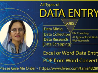 I will do Data Entry, YouTube thumbnail, Banner Design