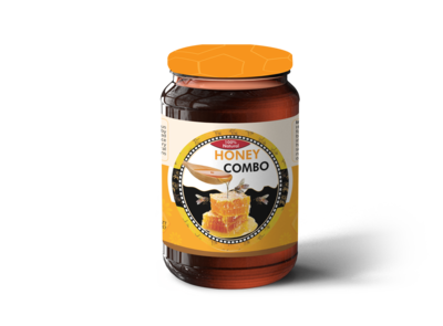 Label Design with Honey Jar Glass Bottle Mockup
