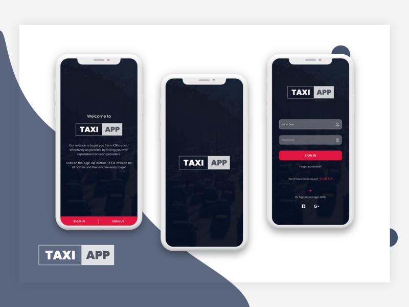 A Taxi App Development Company Android Ios Min ui tracking app taxi app splashscreen signup screen login screen design uidesign mobile design mobile apps mobile app development mobile app design app design