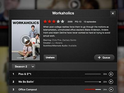 New Netflix iPad Movie/Show Modal netflix gui stars list episodes movie modal pop over play media