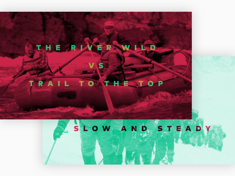 Whitewater vs the Climb Header design inc duotone type