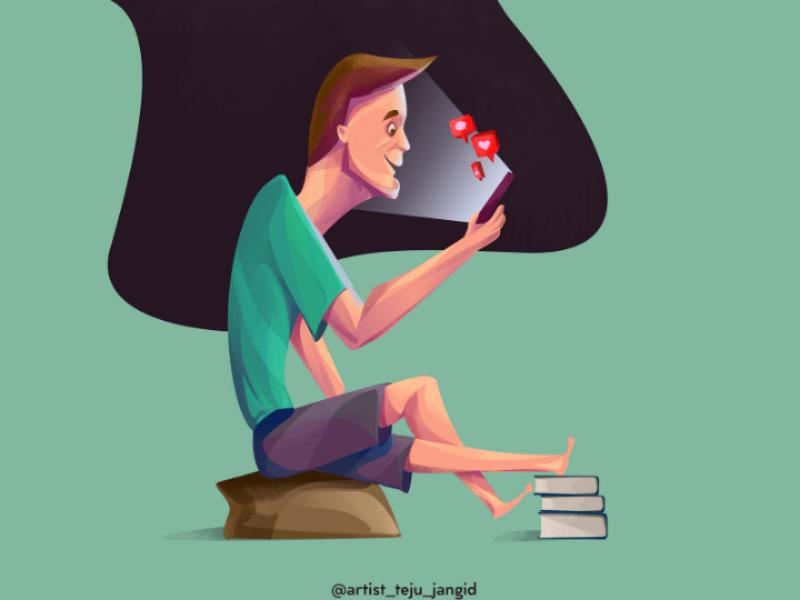 Using mobile. (Today's reality) vector ui todays reality photoshop art logo illustration development design branding art