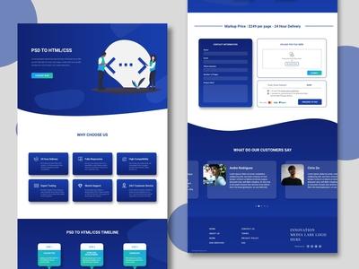 PSD to HTML Conversion Website home screen corporate design gradient blue landingpage homepagedesign homepage webdesign uidesign adobexd ux design uxui ux ui