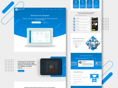 Blue Ladder Media Landing Page templatedesign template mockup light blue media adobexd webpagedesign webpage homepage design homepage landing page contractor