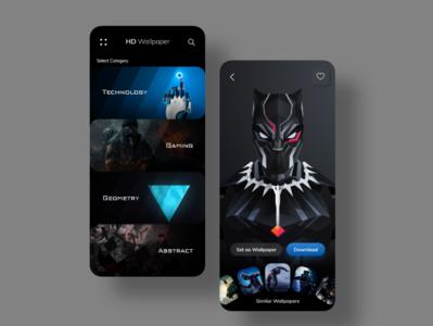 HD Wallpaper app concept userinterface uxuidesign uiux design dailyui instaui uiuxdesign uxdesign uidesigner uxdesigner app designer wallpaper app dark mode dark app dark ui adobexd