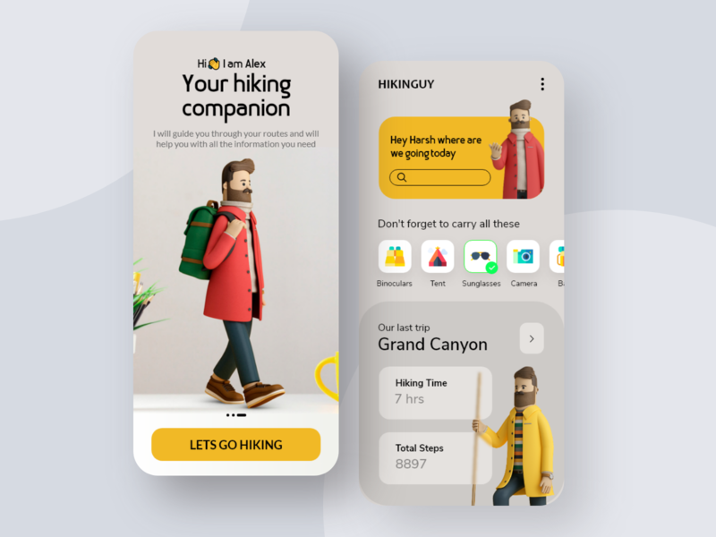 Hiking App Design uiux uxui userinterface 3dmodel appdesigns appdesigner appui uiconcept appdesign traveling travelapp hiking fitnessapp adobexd