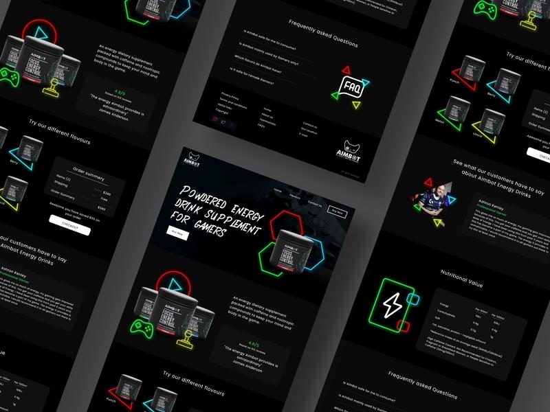 Energy Drink Website targeting Gamers neoncolour energydrinkwebsite darkmode rgb neoncolor neon darktheme template websitedesign drinkwebsite energydrink gamer