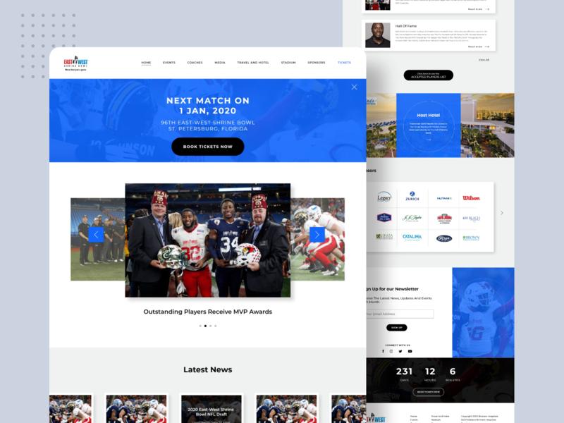 Sports website design gradient blue fresh professional adobexd homepage landingpage sports sportswebsite footballwebsite