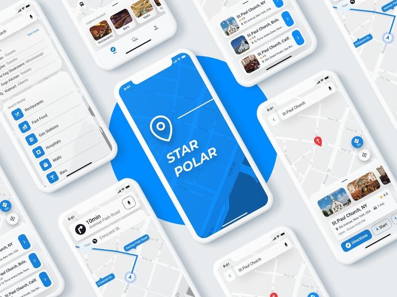 Star Polar App Design uidesigns ux uxdesign uxdesigns navigation map uiuxdesign uidesign blue and white whitespace app design app designers maps uiux uxui