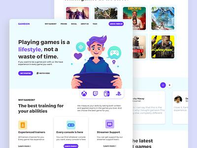 UI design for games landing page. design user design user interface ui landing page landing page modern ui ui design uiux ui