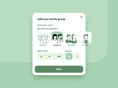 Family group card fields button datepicker openpeeps illustration ui wip material card