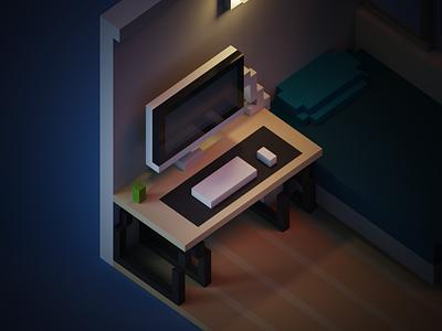 My old room in voxels illustration voxelart trend lightning fun wip concept render 3d voxel magicavoxel