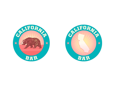 California Bar retro restaurant state bear logo logotype illo cali california