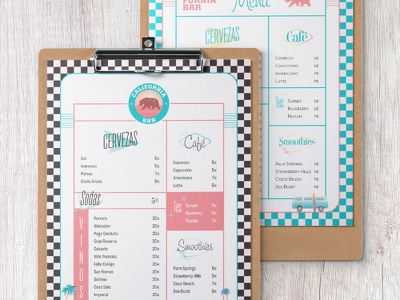 Clipboard Menu food restaurant bar cool california cali retro menu