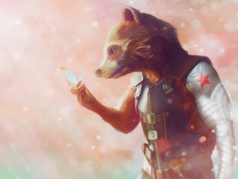 Rocket Raccoon with hand of Winter Soldier Fan Art winter soldier guardiansofthegalaxy guardians of the galaxy avengers rocket raccoon raccoon rocket concept character illustration digital painting digital illustration digital art
