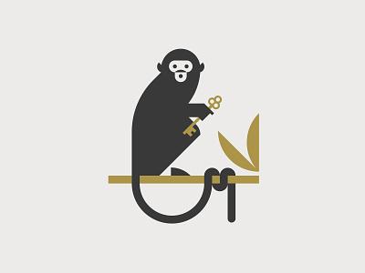 Monkey illustration key monkey logo vector artwork minimal graphic flat illustrator design