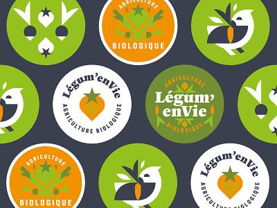 Légum'enVie illustrator vector vegetables bird farm logo graphic minimal flat design illustration